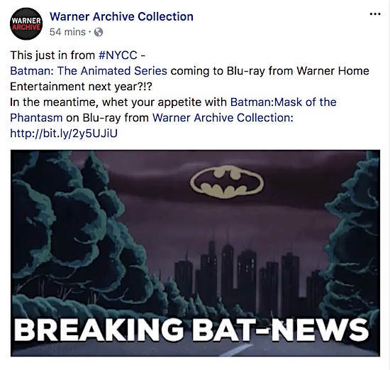Warner Archive announces Batman: The Animated Series on BD