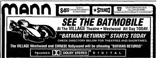 A newspaper ad for Batman Returns