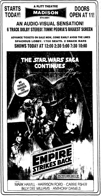 A newspaper ad for The Empire Strikes Back in 70 mm.