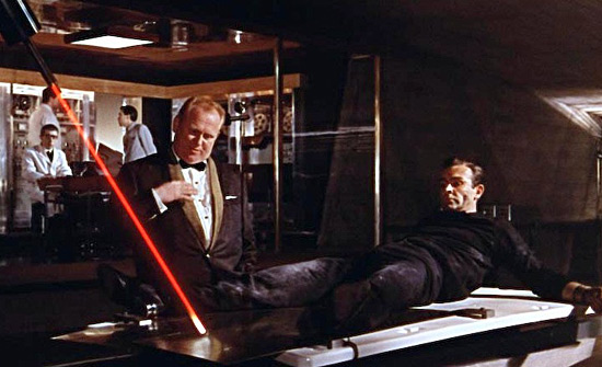 Goldfinger sets the laser on Bond