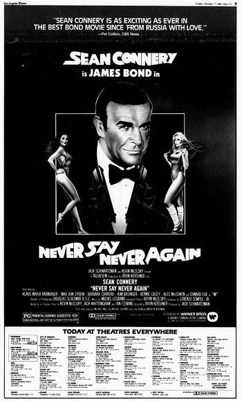 Never Say Never Again newspaper ad