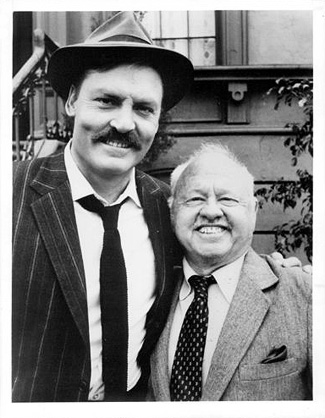 Stacey Keach and Mickey Rooney on the set of Mike Hammer