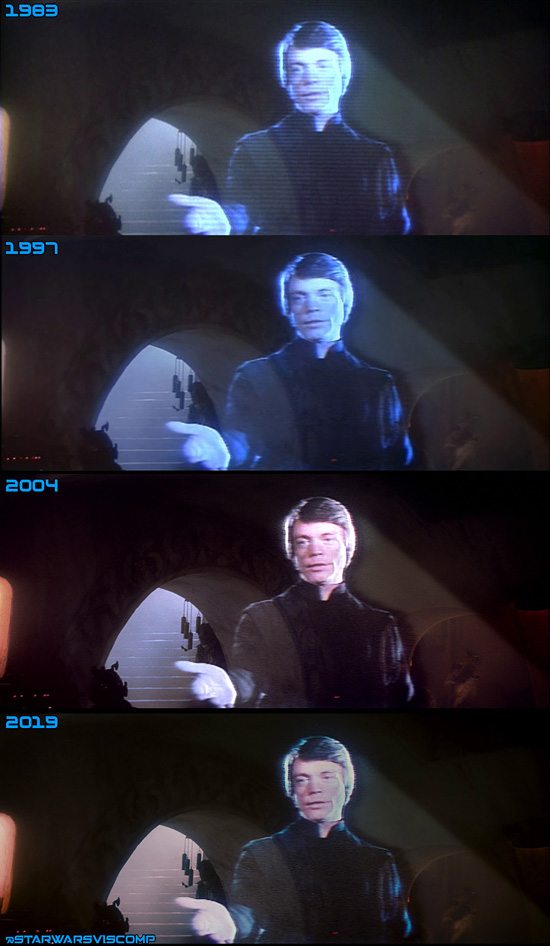 This is a comparison of the different home video versions of Luke's hologram. It's unknown if these are legitimate changes or results of different scans.