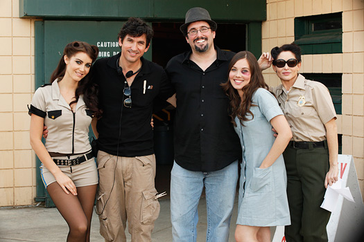 Producer Mark A. Altman (center in hat) on the set of Femme Fatales
