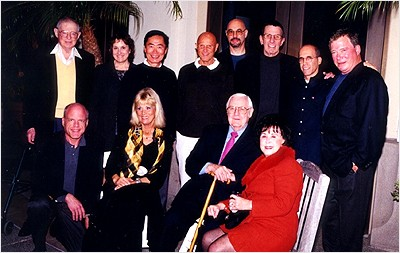 Back row: Harold Michelson (production designer), Michelle Billy-Povell (cast), Takei, Richard Kline (cinematographer), Jon Povill (associate producer), Nimoy, Katzenberg, Shatner Front row: Tom Parry (studio executive), Grace Lee Whitney (cast), Wise and Mrs. Wise