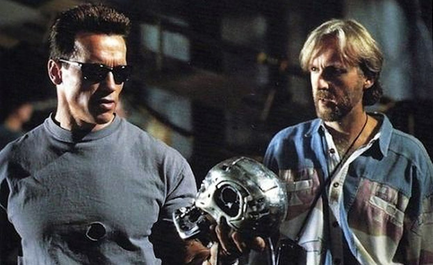 Arnold Schwarzenegger & director James Cameron on the set of The Terminator.