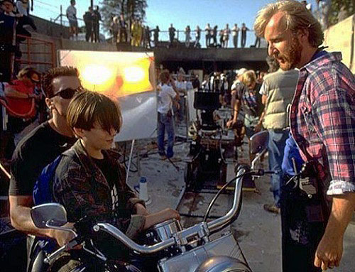 James Cameron on the set of T2